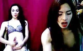 Transessuale porche in spettacolino in web cam